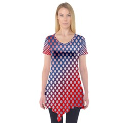 Dots Red White Blue Gradient Short Sleeve Tunic