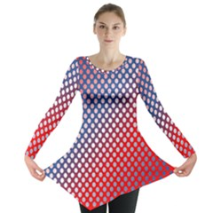 Dots Red White Blue Gradient Long Sleeve Tunic
