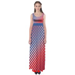 Dots Red White Blue Gradient Empire Waist Maxi Dress