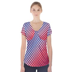 Dots Red White Blue Gradient Short Sleeve Front Detail Top