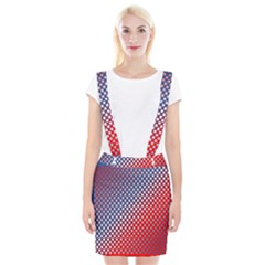 Dots Red White Blue Gradient Braces Suspender Skirt