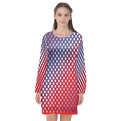 Dots Red White Blue Gradient Long Sleeve Chiffon Shift Dress