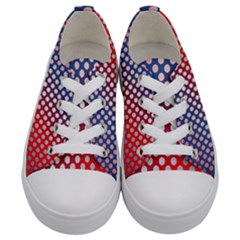 Dots Red White Blue Gradient Kids  Low Top Canvas Sneakers