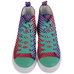 Dots Red White Blue Gradient Women s Mid Top Canvas Sneakers