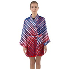 Dots Red White Blue Gradient Long Sleeve Kimono Robe