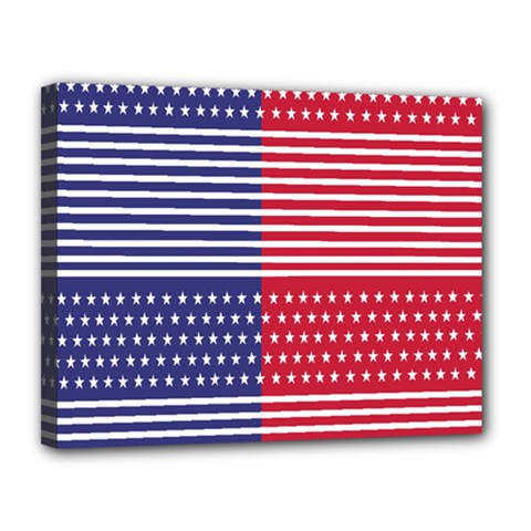 American Flag Patriot Red White Canvas 14  X 11