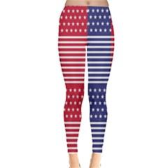 American Flag Patriot Red White Leggings