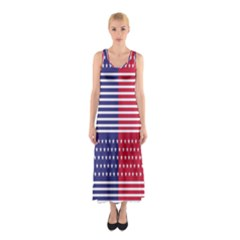 American Flag Patriot Red White Sleeveless Maxi Dress