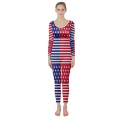 American Flag Patriot Red White Long Sleeve Catsuit
