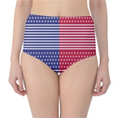 American Flag Patriot Red White High Waist Bikini Bottoms