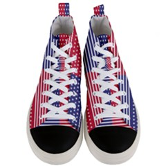 American Flag Patriot Red White Men s Mid Top Canvas Sneakers