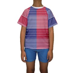 American Flag Patriot Red White Kids  Short Sleeve Swimwear
