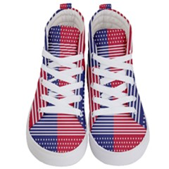 American Flag Patriot Red White Kid s Hi Top Skate Sneakers