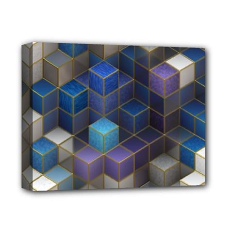 Cube Cubic Design 3d Shape Square Deluxe Canvas 14  X 11