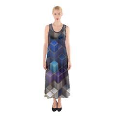 Cube Cubic Design 3d Shape Square Sleeveless Maxi Dress