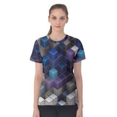 Cube Cubic Design 3d Shape Square Women s Cotton Tee