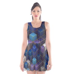Cube Cubic Design 3d Shape Square Scoop Neck Skater Dress