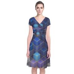 Cube Cubic Design 3d Shape Square Short Sleeve Front Wrap Dress