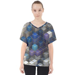 Cube Cubic Design 3d Shape Square V Neck Dolman Drape Top