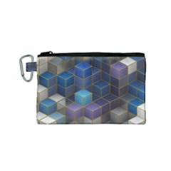 Cube Cubic Design 3d Shape Square Canvas Cosmetic Bag (small)