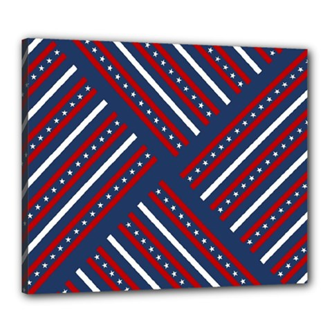 Patriotic Red White Blue Stars Canvas 24  X 20