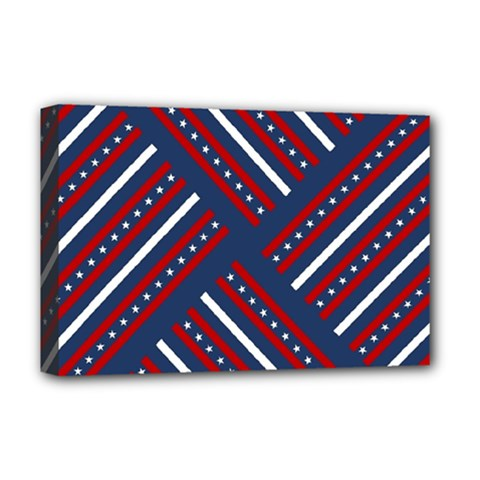 Patriotic Red White Blue Stars Deluxe Canvas 18  X 12