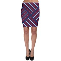 Patriotic Red White Blue Stars Bodycon Skirt
