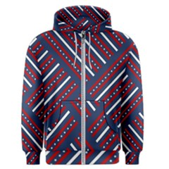 Patriotic Red White Blue Stars Men s Zipper Hoodie
