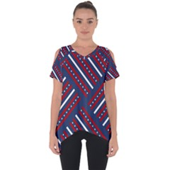 Patriotic Red White Blue Stars Cut Out Side Drop Tee