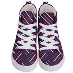Patriotic Red White Blue Stars Kid s Hi Top Skate Sneakers