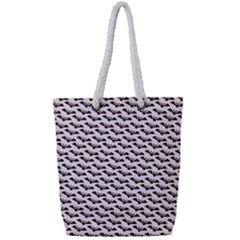 Halloween Lilac Paper Pattern Full Print Rope Handle Tote (small)