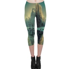 Yosemite Park Landscape Sunrise Capri Leggings