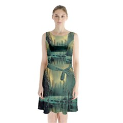 Yosemite Park Landscape Sunrise Sleeveless Waist Tie Chiffon Dress