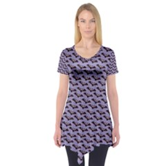 Bat Halloween Lilac Paper Pattern Short Sleeve Tunic