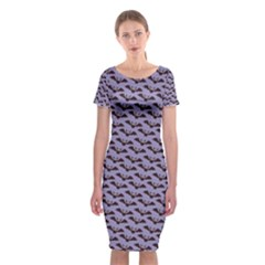 Bat Halloween Lilac Paper Pattern Classic Short Sleeve Midi Dress