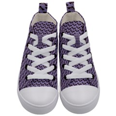 Bat Halloween Lilac Paper Pattern Kid s Mid Top Canvas Sneakers