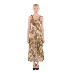 Texture Background Backdrop Brown Sleeveless Maxi Dress