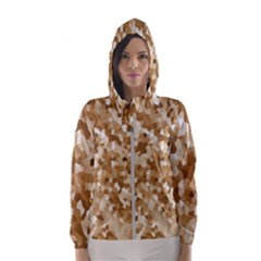Texture Background Backdrop Brown Hooded Wind Breaker (women)