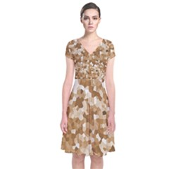 Texture Background Backdrop Brown Short Sleeve Front Wrap Dress