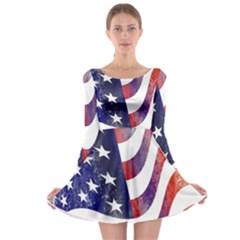 Usa Flag America American Long Sleeve Skater Dress