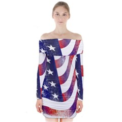 Usa Flag America American Long Sleeve Off Shoulder Dress