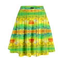 Birds Beach Sun Abstract Pattern High Waist Skirt