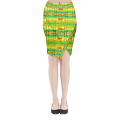 Birds Beach Sun Abstract Pattern Midi Wrap Pencil Skirt