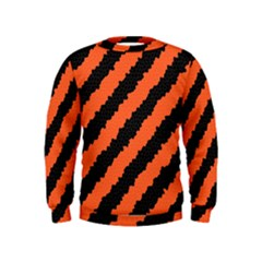 Black Orange Pattern Kids  Sweatshirt