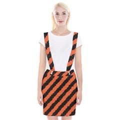 Black Orange Pattern Braces Suspender Skirt