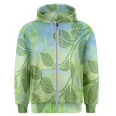 Green Leaves Background Scrapbook Men s Zipper Hoodie