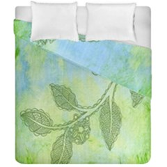 Green Leaves Background Scrapbook Duvet Cover Double Side (california King Size)