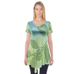 Green Leaves Background Scrapbook Short Sleeve Tunic