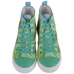 Green Leaves Background Scrapbook Women s Mid Top Canvas Sneakers