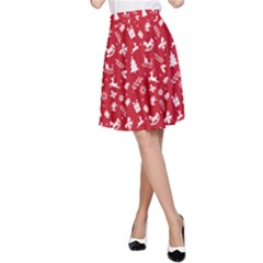 Red Christmas Pattern A Line Skirt